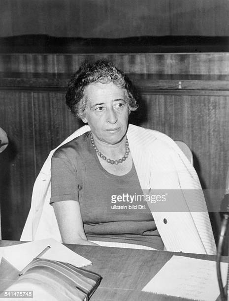 HANNAH ARENDT American philosopher and political scientist Photographed during the International Cultural Critics Conference in Munich 1958