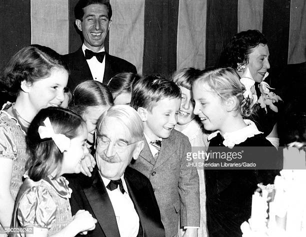 American philosopher psychologist and educational reformer John Dewey is surrounded by his children celebrating his 90th birthday 1949