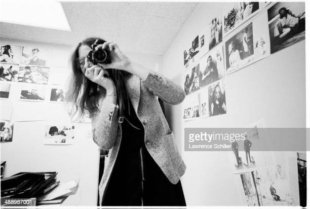 American photographer Annie Leibovitz photographs the photographer Hollywood California 1975 The picture was taken during the layout sessions of...