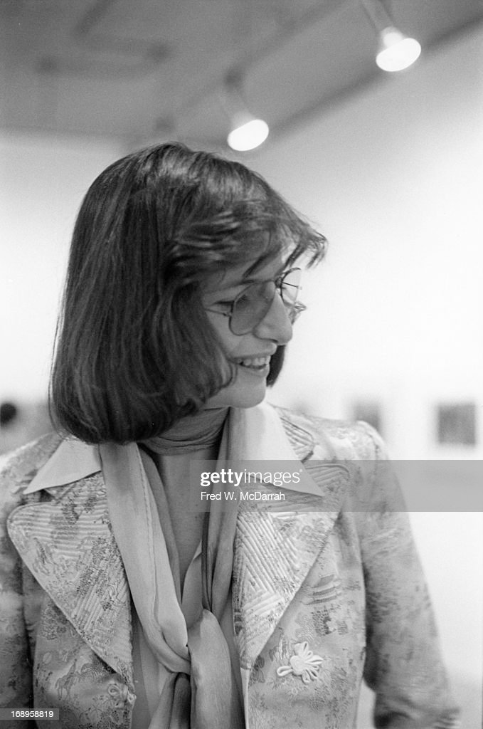 American photographer Annie Liebovitz attends an exhibit of her work in Soho New York New York November 21 1974