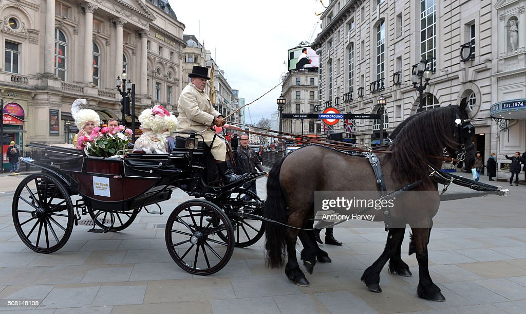 American photographer Tyler Shields arrives with a carriage in Picadilly Circus as he launches his new exhibition at Maddox Gallery on February 3...