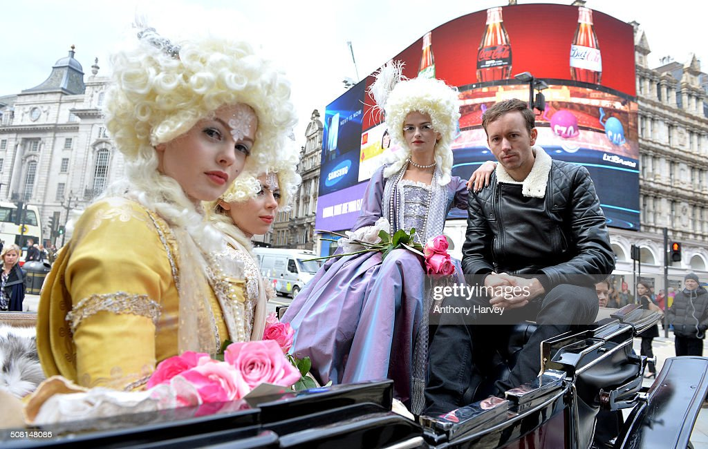 American photographer Tyler Shields in Picadilly Circus as he launches his new exhibition at Maddox Gallery on February 3 2016 in London England