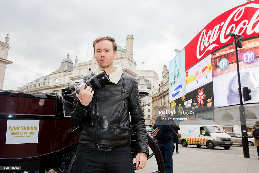American photographer Tyler Shields launches his new exhibition at Maddox Gallery at Picadilly Circus on February 3 2016 in London England