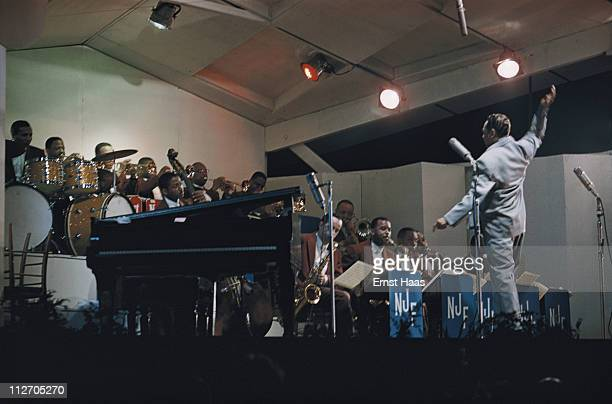 American pianist and big band leader Duke Ellington performs at the Newport Jazz Festival in Rhode Island 1958