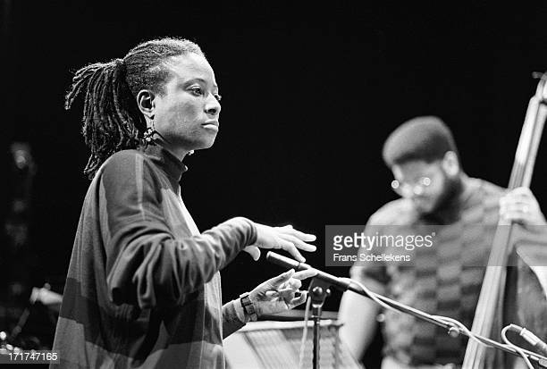American pianist Geri Allen directs at the NOS Jazz festival at de Meervaart in Amsterdam Netherlands on 11th August 1989