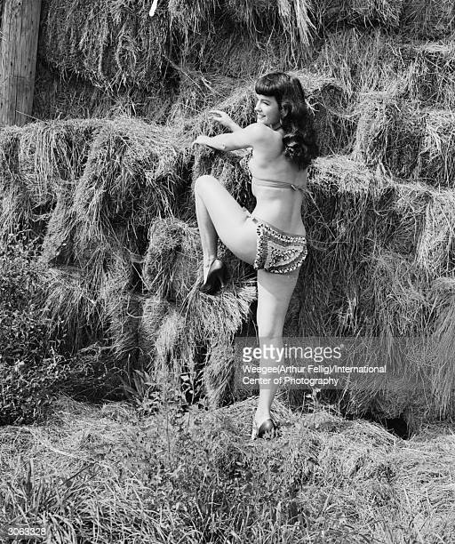 American pinup Bettie Page Playboy playmate of the month for January 1955 climbs onto a haystack 1950s Photo by Weegee/International Center of...