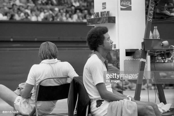 American players Arthur Ashe and Jimmy Connors take a break during the Wimbledon Men's Single Competition Ashe became the first black man to win the...