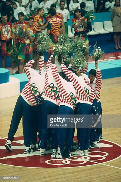American players of the Dream Team celebrate their victory in the final of the men's basketball tournament at the 1992 Olympics against Croatia USA...