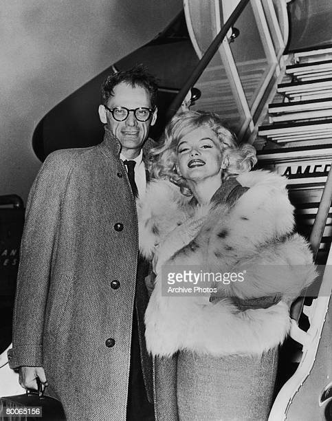 American playwright Arthur Miller travels with his wife actress Marilyn Monroe 1956