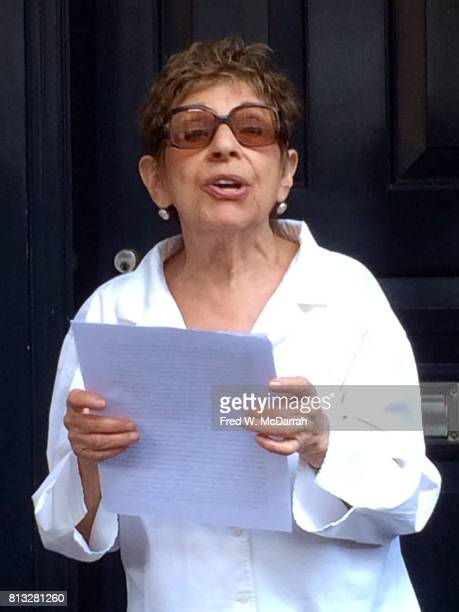 American poet and magazine editor Hettie Cohen Jones speaks during the Greenwich Village Society for Historic Preservation's ceremony to unveil a...
