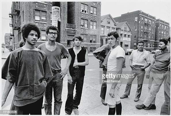 American political and social activist Felipe Luciano and members of the Young Lords Organization stand on a street corner in Newark New Jersey July...