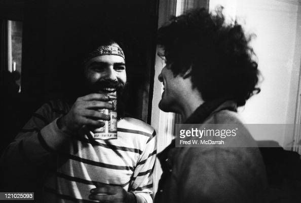 American political and social activists Jerry Rubin and Abbie Hoffman share a laugh March 22 1969