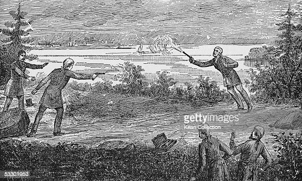 American politician Aaron Burr fatally wounds Alexander Hamilton with a shot from his pistol during a duel in Weehawken New Jersey July 11 1804...