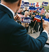 American Politician Addressing a Crowd of Supporters