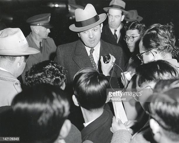 American politician and Assistant Secretary of State for Far Eastern Affairs Dean Rusk answers reporter's questions Tokyo Japan 1951 Rusk was in...