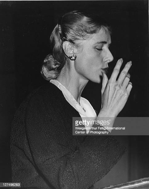American politician and author Congresswoman Clare Boothe Luce speaks at a New Jersey State Woman's Republican Club meeting Newark New Jersey October...