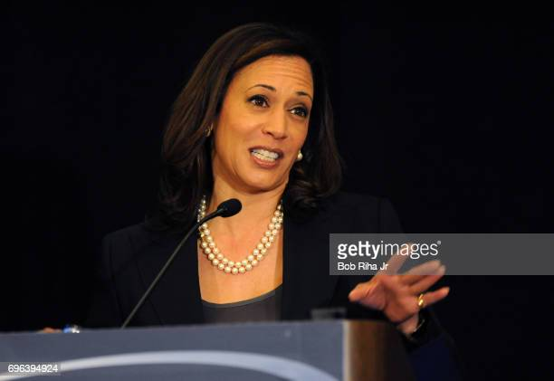 American politician and California Attorney General Kamala Harris speaks during the annual convention of the California Teachers Association...