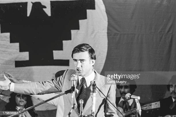 American politician and California Governor Jerry Brown speaks to labor supporters at a United Farm Workers rally 1976