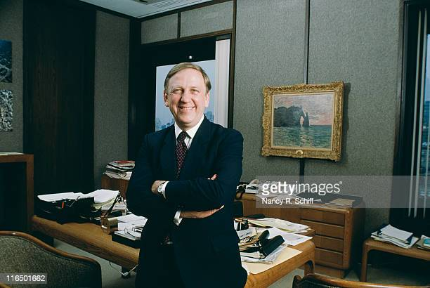 American politician and educator John Brademas in New York August 1981 He is the 13th President of New York University The painting on the wall...