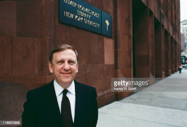 American politician and educator John Brademas outside the Elmer Holmes Bobst Library in Manhattan New York August 1981 He is the 13th President of...