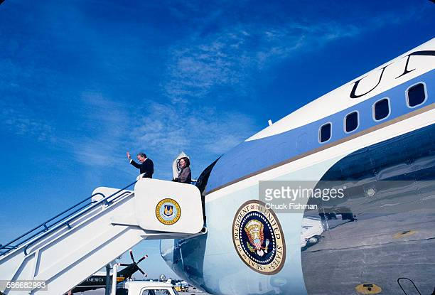 American politician and former US President Jimmy Carter and his wife Rosalynn Carter wave as they board Air Force One Warner Robins Georgia January...