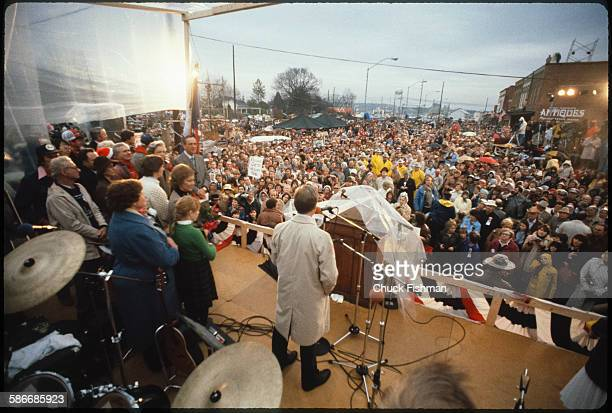 American politician and former US President Jimmy Carter speaks from a stage upon his return to his hometown after leaving the White House Plains...