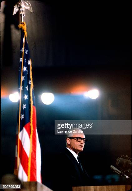 American politician and GOP Presidential nominee Senator Barry Goldwater speaks during the 1964 Republican National Convention at the Cow Palace San...