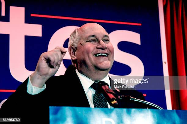 American politician and Kansas State Treasurer Ron Estes addresses supporters as he celebrates his Congressional special election victory Wichita...