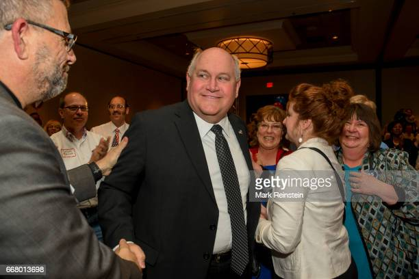 American politician and Kansas State Treasurer Ron Estes greets supporters as he celebrates his Congressional special election victory Wichita Kansas...