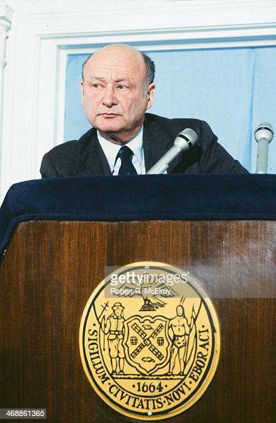 American politician and New York Mayor Ed Koch stares out from behind a lectern during an unspecified press conference New York New York February 15...