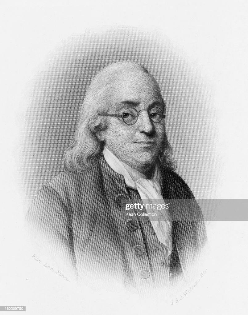 American politician and polymath <a gi-track='captionPersonalityLinkClicked' href=/galleries/search?phrase=Benjamin+Franklin&family=editorial&specificpeople=77750 ng-click='$event.stopPropagation()'>Benjamin Franklin</a> (1706 - 1790), one of the Founding Fathers of the United States, circa 1760 Engraved by J. A. J. Wilcox after a painting by Van Loo.