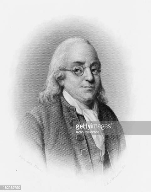 American politician and polymath Benjamin Franklin one of the Founding Fathers of the United States circa 1760 Engraved by J A J Wilcox after a...