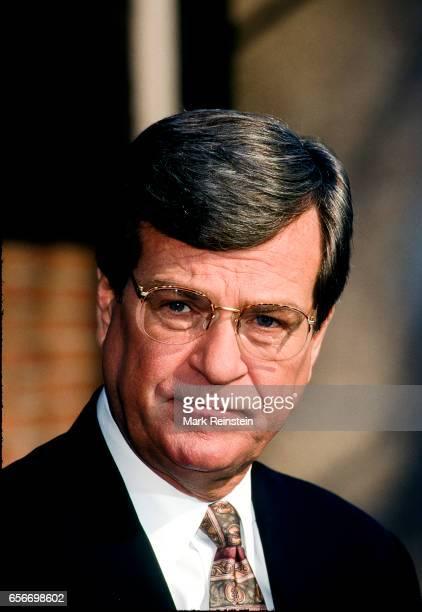 American politician and Senate Majority Leader Senator Trent Lott speaks with the press outside CBS Studios Washington DC February 8 1998 He was...
