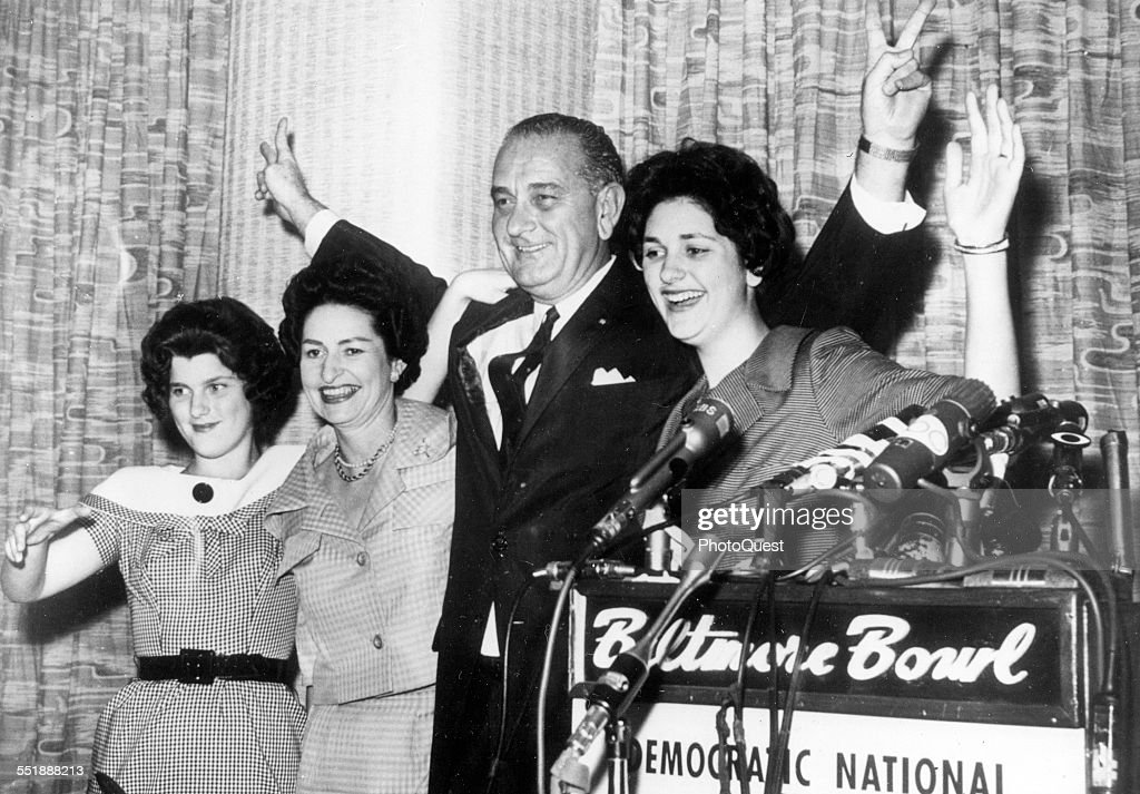 American politician and Senator Lyndon B Johnson (1908 - 1973) and his family wave during a press conference before the Democratic National Convention where he would receive the party nomination for Vice President, Los Angeles, California, July 8, 1960. Pictured are, from left, daughter Luci Baines, wife Lady Bird (1912 - 2007), LBJ, and daughter Lynda Byrd.