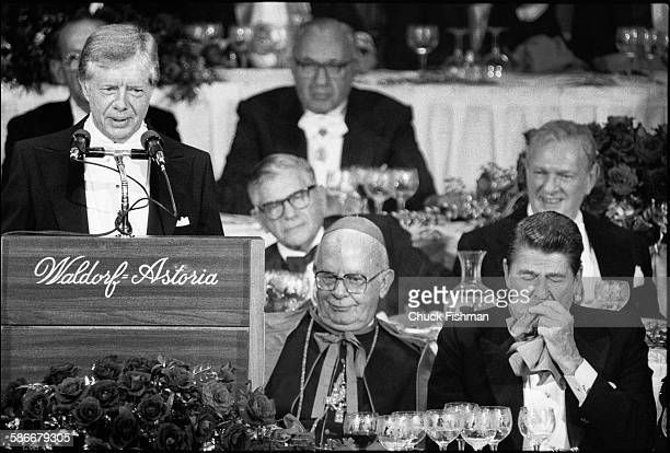 American politician and US President Jimmy Carter in formal attire speaks at the Alfred E Smith Memorial Foundation Dinner at the Waldorf Astoria New...