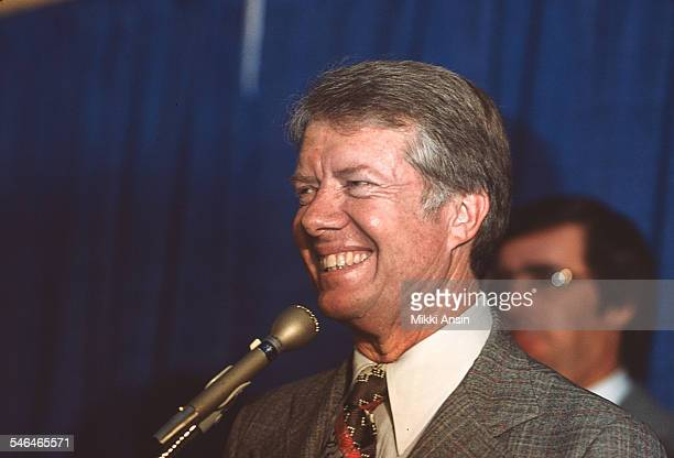 American politician and US Presidential candidate Jimmy Carter speaks during a campaign event Boston Massachusetts 1976