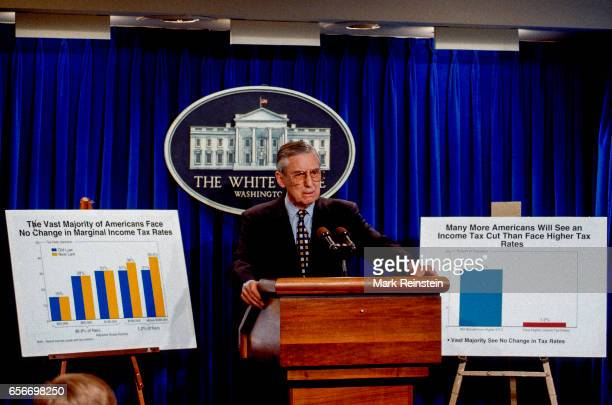 American politician and US Secretary of the Treasury Lloyd Bentsen delivers a press briefing at the the White House Washington DC April 12 1994 He...