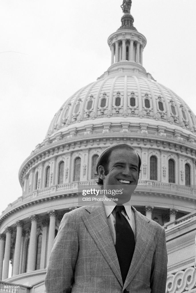 American politician and US Senator (and future US Vice President) Joe Biden smiles in a 'Bicentennial Minutes' segment, a series of nightly shorts commemorating the bicentennial of the American Revolution which aired from 1974-1976, August 12, 1974.