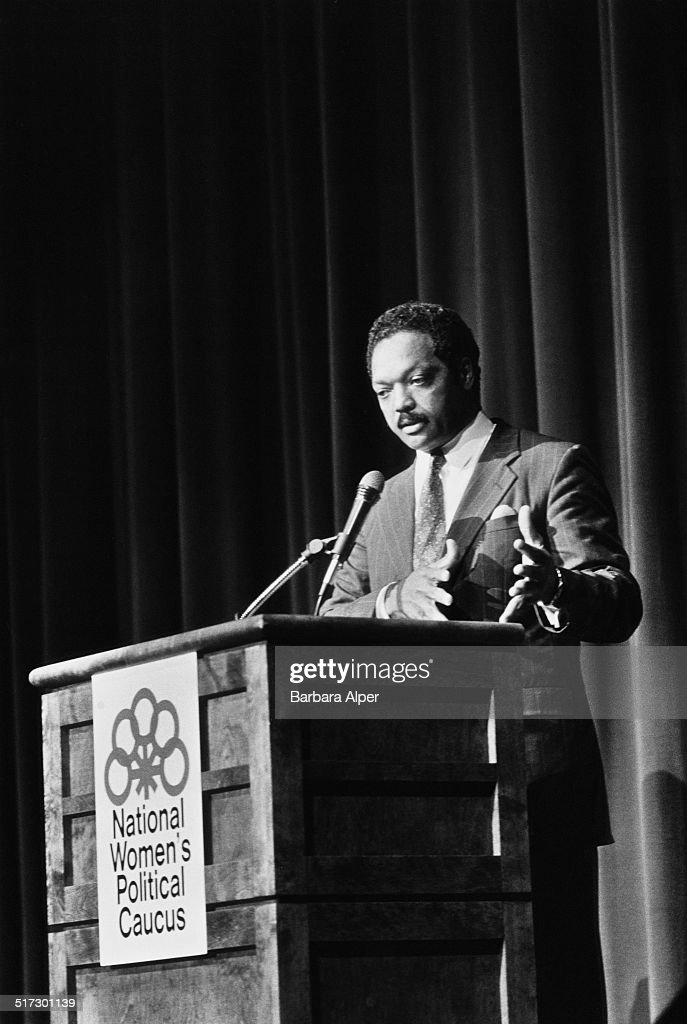 American politician civil rights activist and Baptist minister Jesse Jackson speaking at the National Women's Political Caucus Portland Oregon USA...