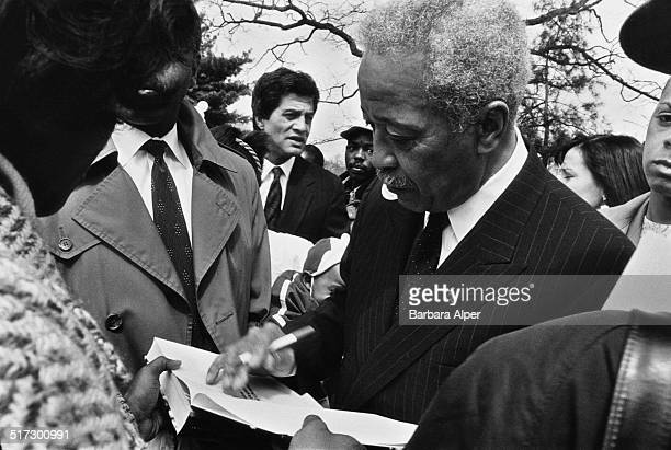 American politician David Dinkins campaigning for the role of Mayor of New York City New York City USA October 1990