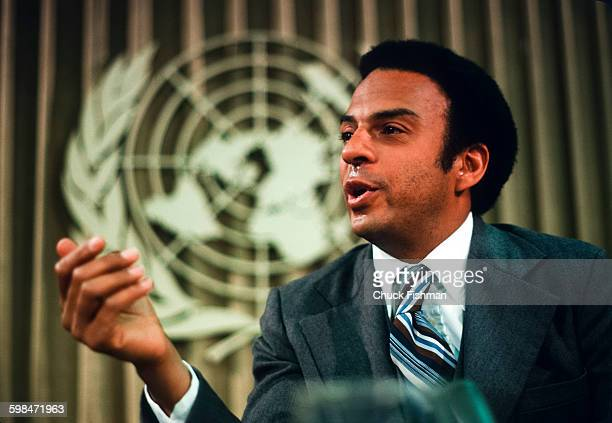 American politician diplomat and United States Ambassador to the United Nations Andrew Young speaks at a UN press conference New York New York 1977