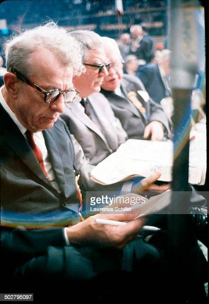 American politician Illinois Senator Everett Dirksen reads notes during the 1964 Republican National Convention at the Cow Palace San Francisco...