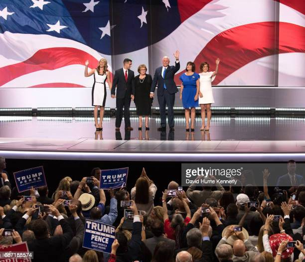 American politician Indiana Governor and vicepresidential candidate Mike Pence and his family wave from the stage during the Republican National...