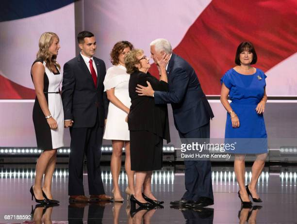American politician Indiana Governor and vicepresidential candidate Mike Pence embraces his mother Nancy Pence on stage during the Republican...
