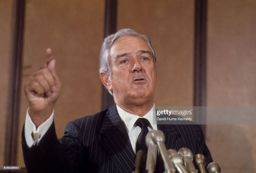 American politician (and former Secretary of Treasury) John Connally speaks during a press conference at the Mayflower Hotel, Washington DC, September 10, 1973.