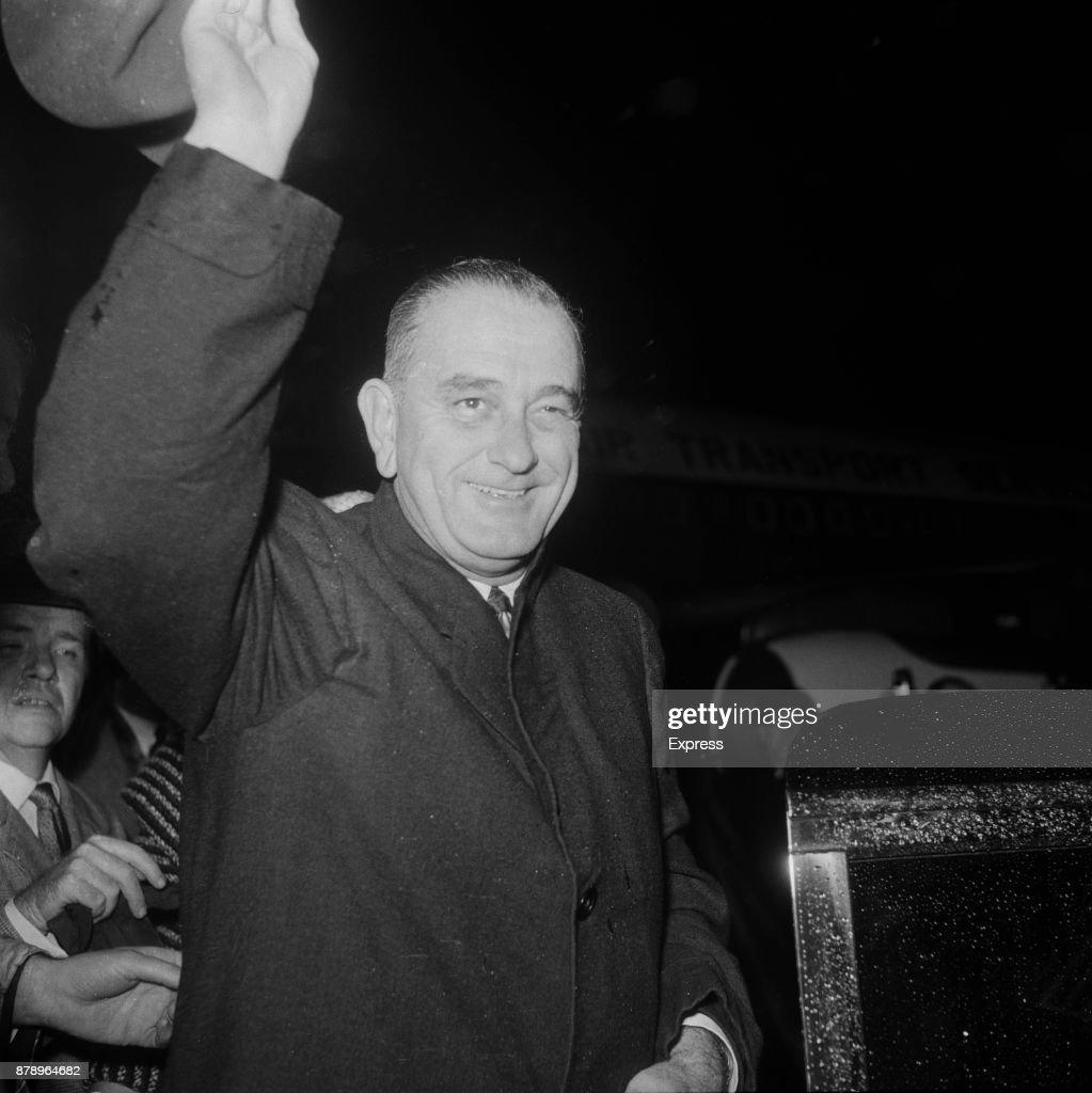 American politician Lyndon Baines Johnson (1908 - 1973) arrives at Heathrow Airport, London, UK, 1960.