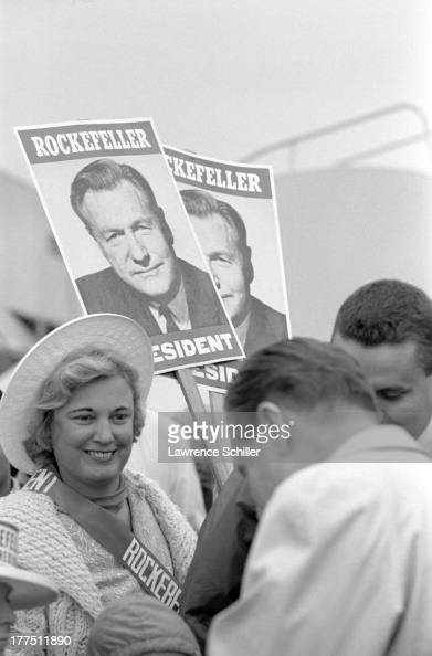 American politician Nelson Rockefeller greets supporters as he campaigns for the Republican presidential nomination at the Lockheed Air Terminal...