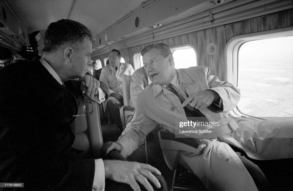 American politician Nelson Rockefeller talks with supporters on a plane as he campaigns for the Republican presidential nomination California 1964