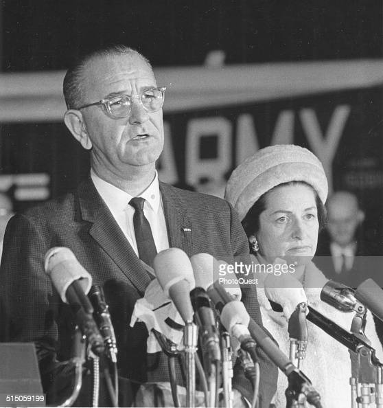American politician President Lyndon B Johnson and First Lady Lady Bird Johnson at the airport upon their return to the nation's capital following...