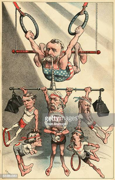 American politician President Ulysses S Grant dressed as a trapeze performer holds up corrupt members of his administration in this poltical cartoon...